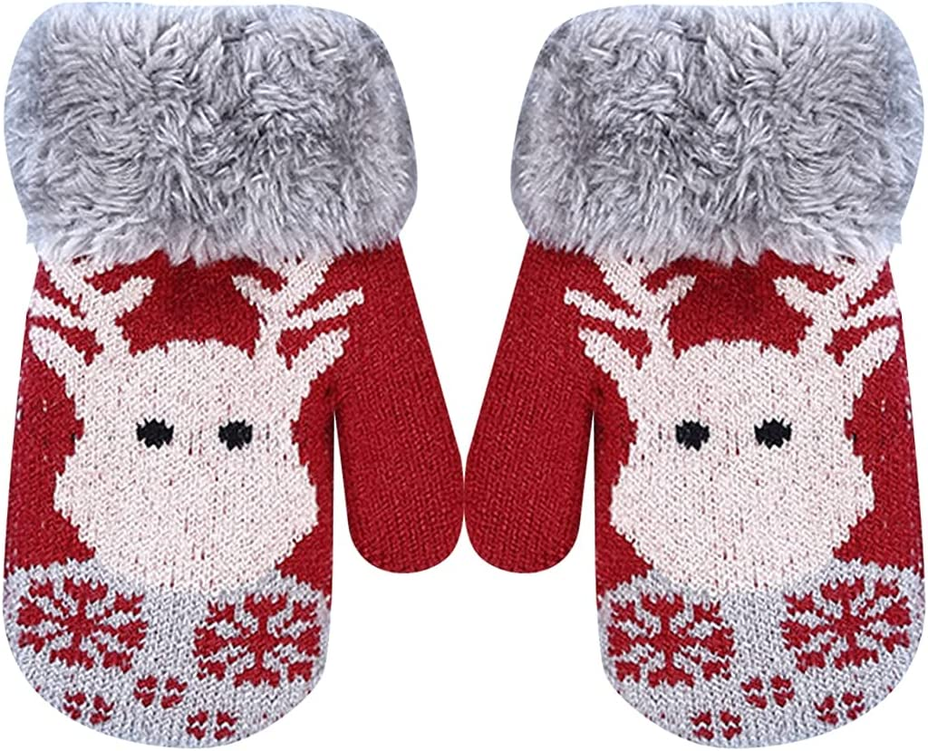 Lnrueg Kids Knit Mittens Thick Knitted Elastic Winter Mittens Holiday Winter Gloves for Christmas Knitted Birthday