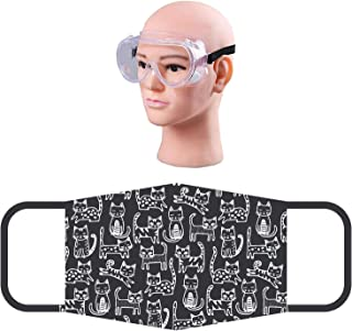 HACER Combo of 1 Piece Goggle ORSF26 Reusable Cotton Face Mask Washable Breathable Protective Stylish Nose Mouth Cover for Men & Women (5 PCS)
