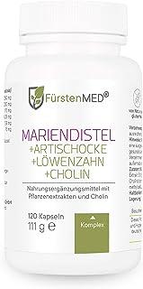 FürstenMED Mariendistel Artischocke Löwenzahn & Cholin - Leber Komplex Hochdosiert mit 80% Silymarin - 120 Vegane Kapseln - Laborgeprüft & Ohne Zusatzstoffe