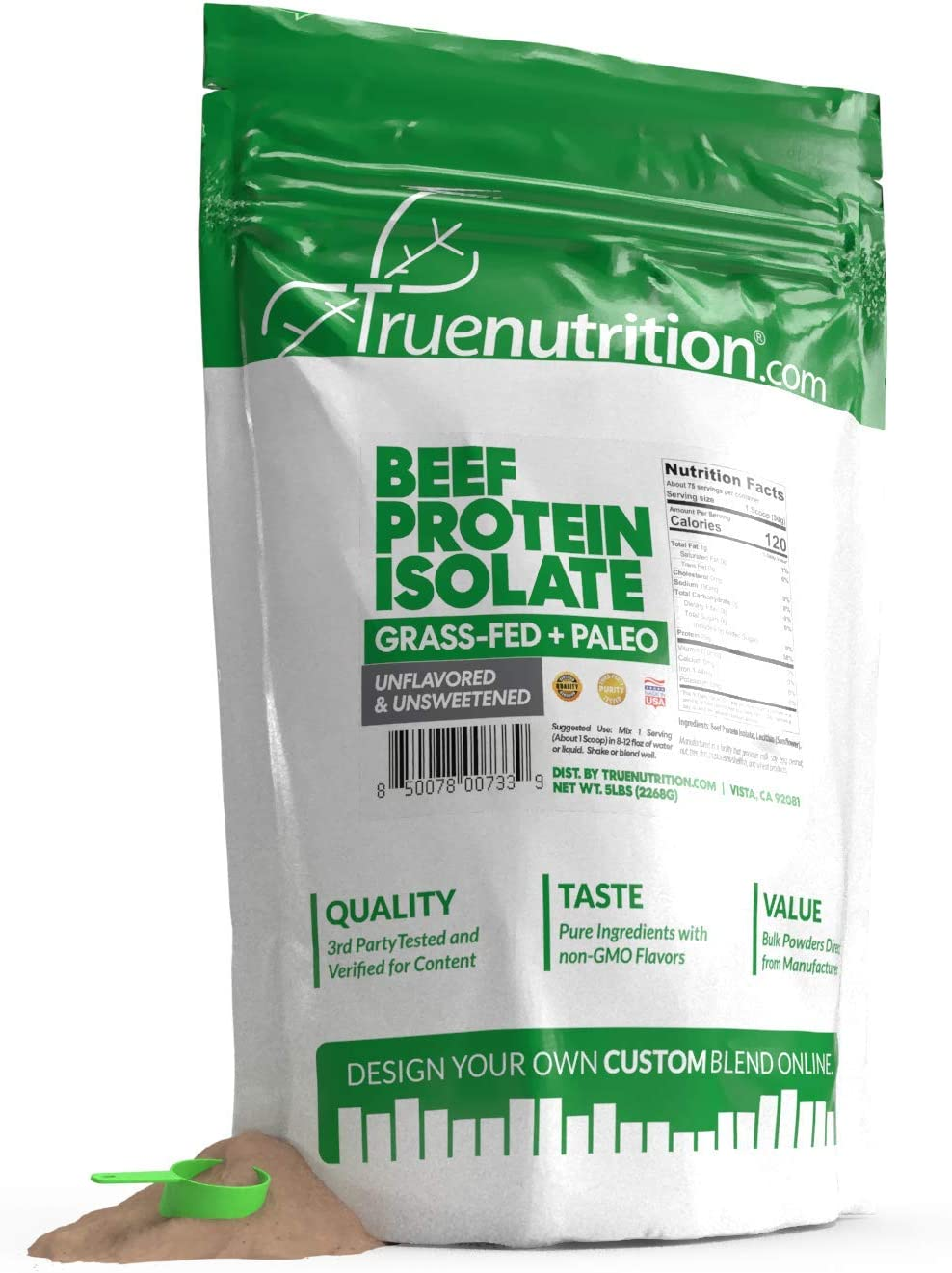 5LBS Unflavored Grass Fed Beef Protein Powder Isolate - Paleo, Keto, Carnivore, Sugar-Free, Lactose-Free - Customize Your Protein with Two Free TrueBoost or TrueFlavor Protein Shake Enhancements