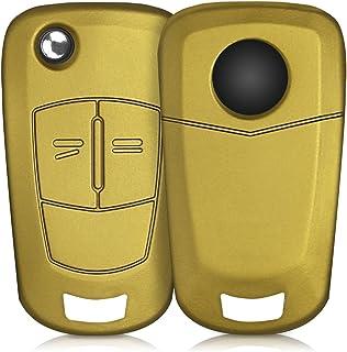 kwmobile Autoschlüssel Hülle kompatibel mit Opel Vauxhall 2 Tasten Klappschlüssel Autoschlüssel   Silikon Schutzhülle Schlüsselhülle Cover in Metallic Gold