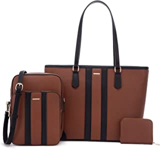 Satchel Purses and Handbags for Women Work Tote Bag Shoulder Top Handle Purse Set 3pcs