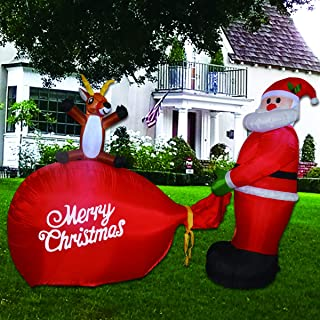 GOOSH 8 Foot Inflatable Santa Christmas Inflatable Santa Claus Holding a Gift Present LED Lights Indoor Outdoor Yard Lawn Decoration - Cute Fun Xmas Holiday Blow Up Party Display
