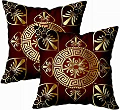EMMTEEY Christmas Home Decor Throw Pillowcase for Sofa Cushion Cover,Christmas Mandala Ancient Greek Decorative Square Accent Zippered and Double Sided Printing Pillow Case Covers 18X18Inch,Set of 2