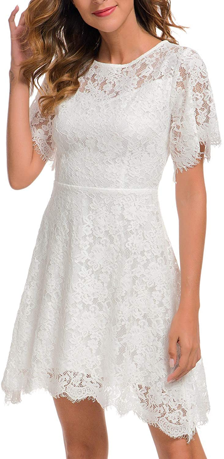 MSLG Women's Elegant Round Neck Short Sleeves Wedding Guest Floral Lace Cocktail Party Dress 943