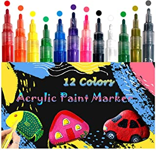 siicaaG Acrylic Paint Marker Pens - Acrylic Paint Pens for Rock Painting, Stone, Ceramic, Glass, Wood, Canvas, Plastic - Waterproof Marker Paint Pens 2mm 12 Colors