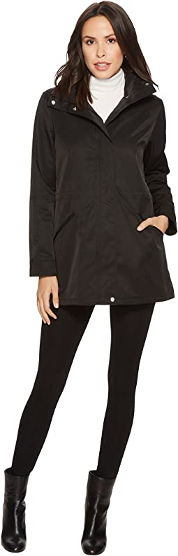 Stand Collar Anorak with Faux Leather Details