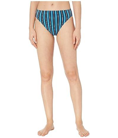 MICHAEL Michael Kors Marine Stripe High-Waisted High Leg Bikini Bottoms (Vintage Blue) Women