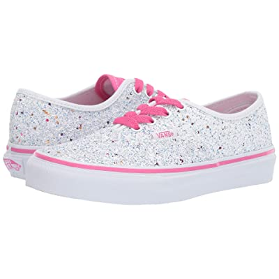 Vans Kids Authentic (Little Kid/Big Kid) ((Glitter Stars) True White/Carmine Rose) Girls Shoes