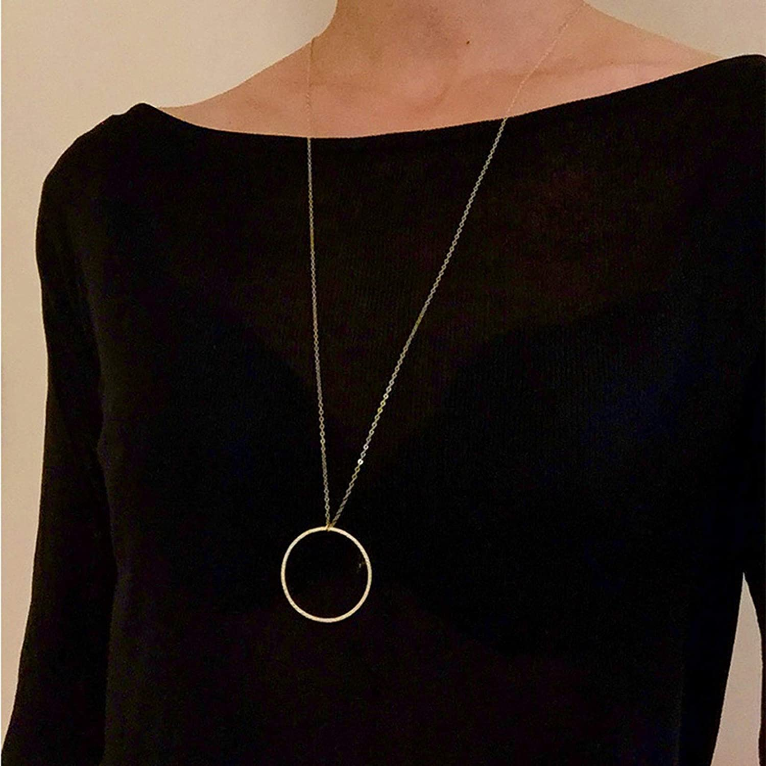 Larancie Boho Necklace Simple Hollow Round Pendant Necklace Long Chain Necklace Jewelry for women and Girls (Gold)