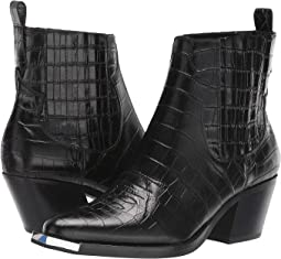 Black Croco Embossed Leather