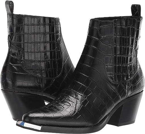 Black Croco Embossed Leather