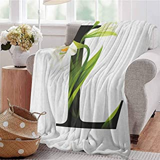 Luoiaax Letter L Rugged or Durable Camping Blanket Conceptual ABC Typography Capital L with Lily Flourish Floral Natural Grace Warm and Washable W60 x L70 Inch Green White Black