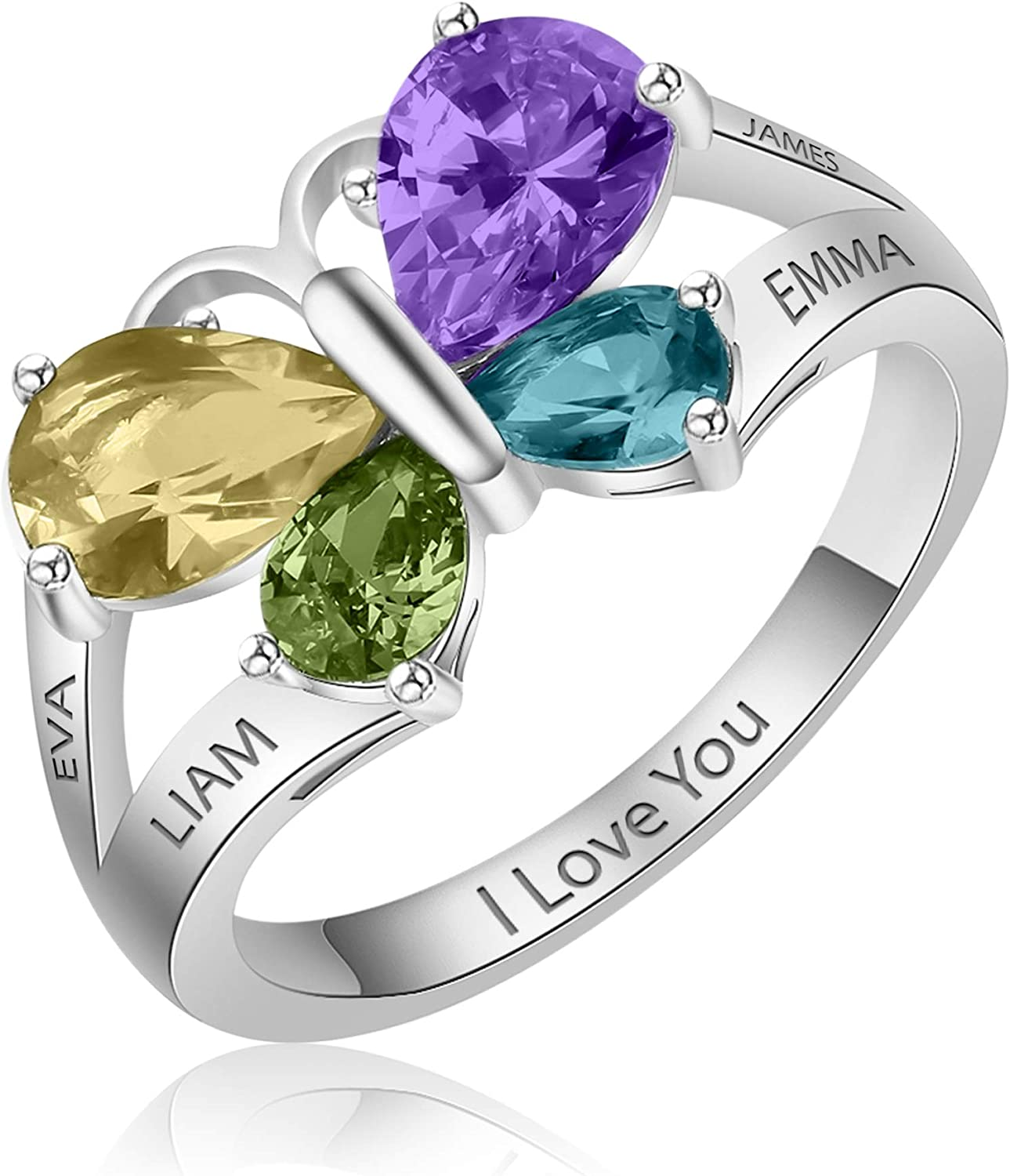 Sterling silver Animer and price revision Personalized Ring Detroit Mall Butterfly Women Promi for