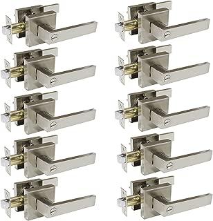 Probrico Square Bedroom and Bathroom Privacy Door Levers Lockset Keyless Door Lock Handle, Pack of 10