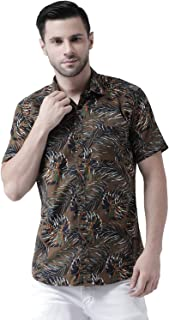 Zeal Mens Half Sleeve Floral Printed Cotton Regular Fit Smart Olive Beach Wear Shirt