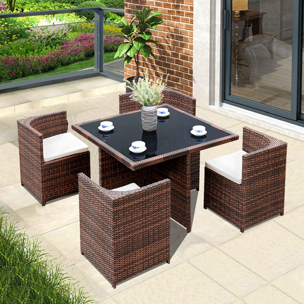 Rattan Cube Dining Table Garden Furniture Patio Set, 1111 Seats + 11 Table  (Brown),B