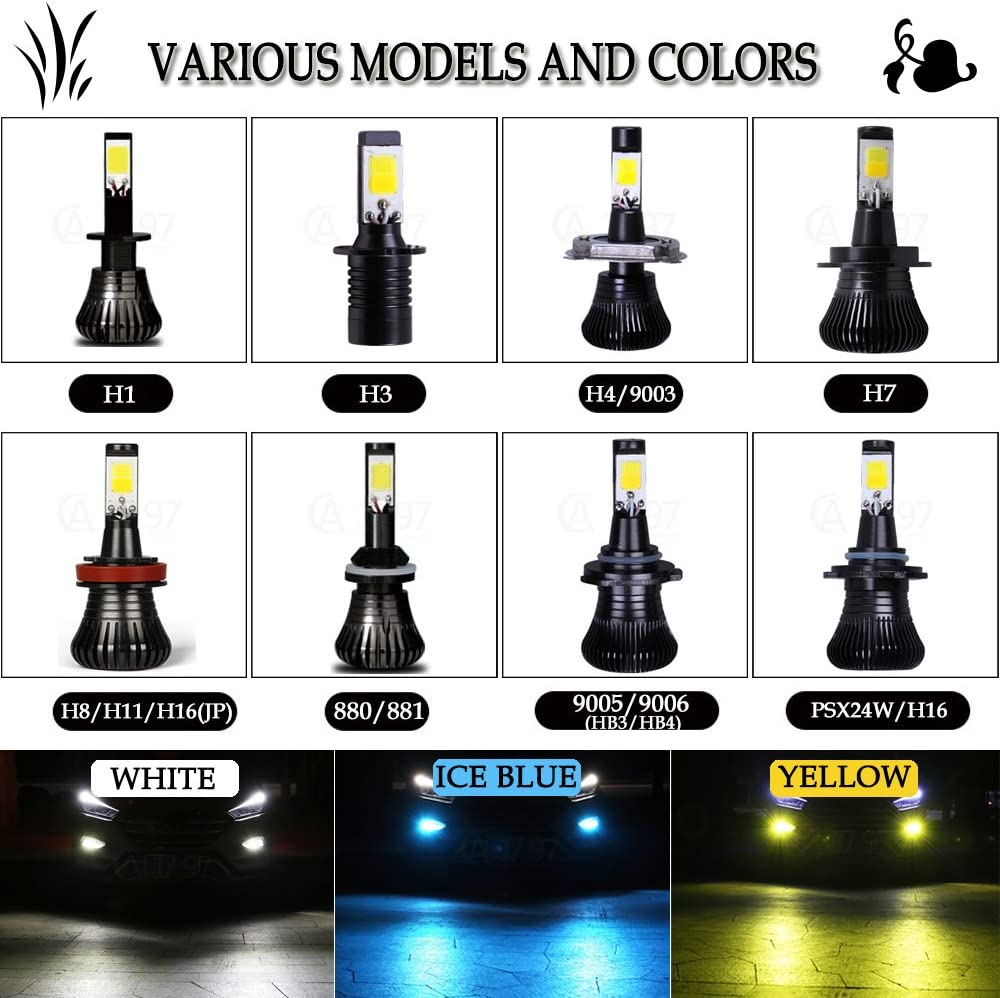 1797 LED 880 881 Fog Lights Bulb Ice Blue 8000K Strobe Flicker Daytime Running Lights DRL Lamps for Trucks Cars Kit Plug Replacement Bulbs 12V 30W 2800LM Super Bright COB Chips Pack of 2