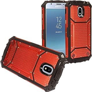 Z-GEN - Galaxy J3 2018 J3 Star/Achieve/Aura/Orbit, Sol3, Express Prime 3, Amp Prime 3, J3 V J3V 3rd Gen - Aluminum Metal Hybrid Phone Case for Samsung J337 - ZY0 Red