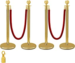 BestEquip 4PCS Gold Stanchion Posts Queue 38 Inch Red Velvet Rope Crowd Control Barriers Queue Line Rope Barriers for Patrty Supplies