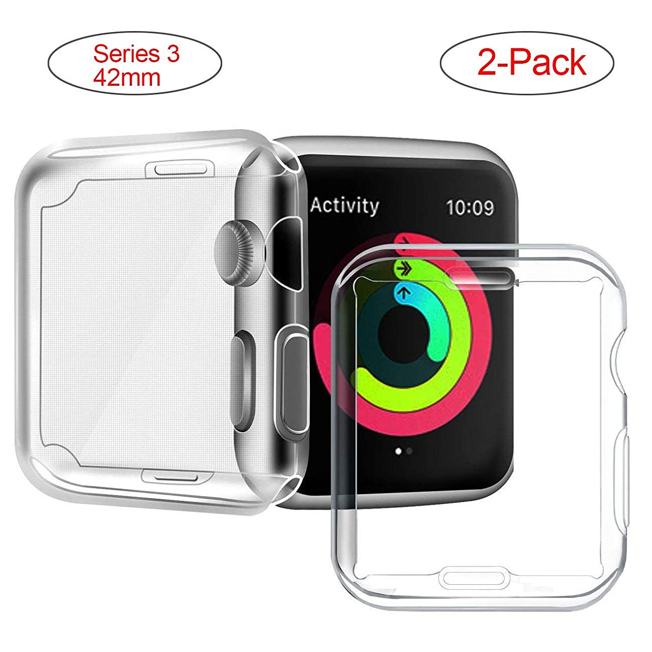 Welmor Series 3/2 42mm Case Compatible with Apple Watch Screen Protector, Overall Protective Case TPU High Definition Clear Ultra-Thin Cover Compatible with iWatch Case Series 3/2 (2 Pack)