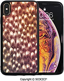 SCOCICI Unique Slim Designs Drop-Protection Smart Cell Phone Case Various Size Mixed Rare Nacreous Pearls Gemstone Oyster Concept Golden Ombre Pattern Compatible with iPhone Xs Max