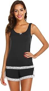 Women's Cat Panda Print Sleepwear Tank Top and Shorts Cotton Cute Pajama Set