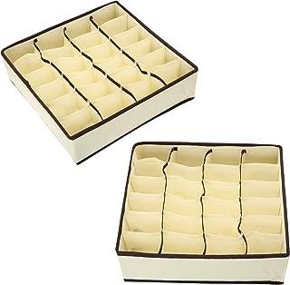 Zonyon Drawer Divider, Foldable Fabric Closet Organizer,Dresser Organizer,Storage Box,Room Organization for Underware,Bra,Ties,Belts,Socks,Tank Tops, Lingerie,Closet,Wardrobe,2 Sets, Beige