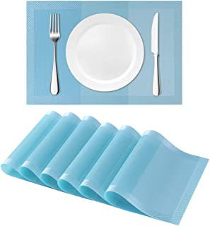 HAOXIANG PVC Placemats,Strip-Turquoise Gradient Stripe mats for Dining Table,Heat-Resistant Placemats, Woven Braided Washable Mats,Kitchen Table mats Set of 6 (Strip-Turquoise)
