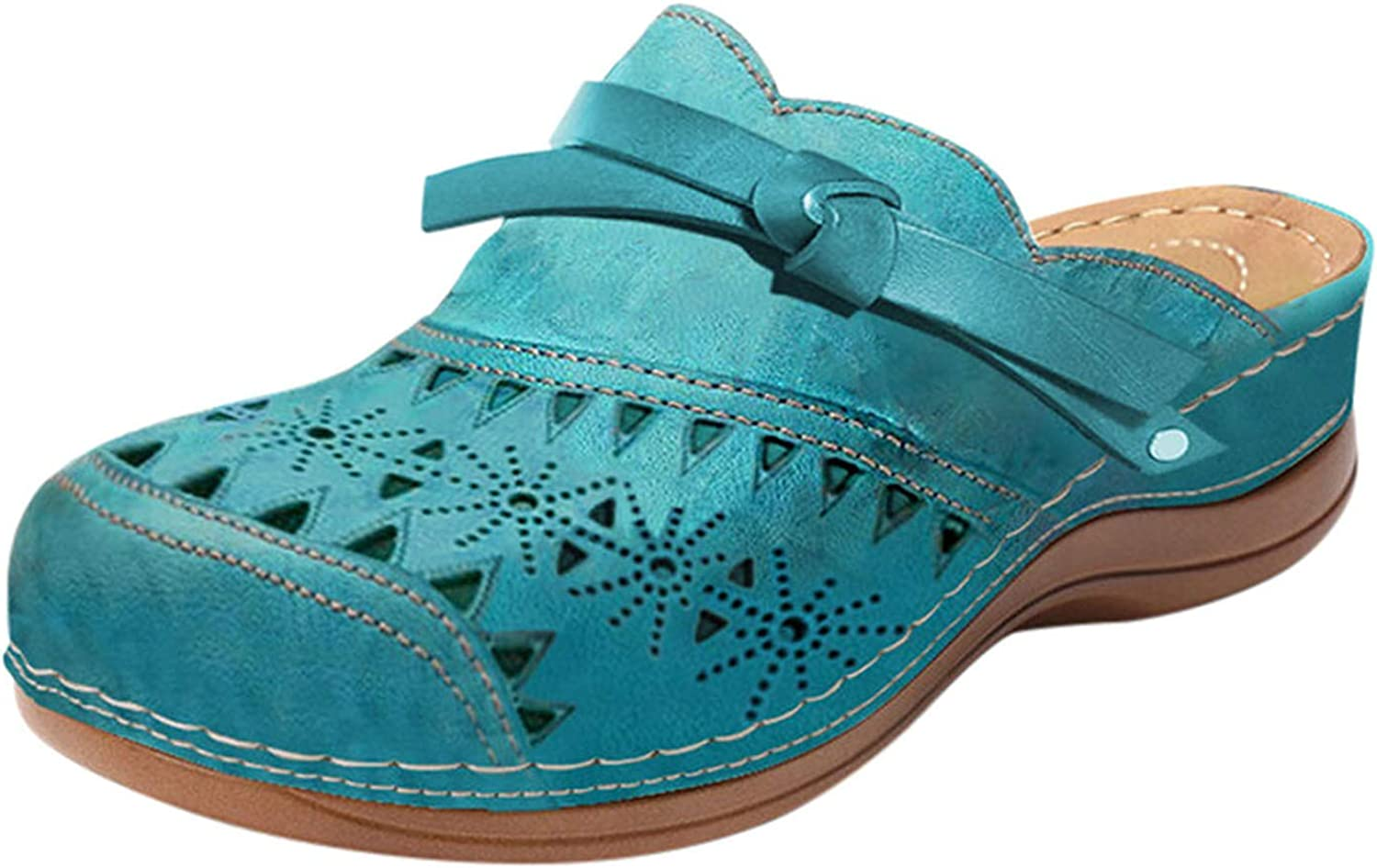 FAMOORE Women's Fashion Casual Platform Hollow Carved Round Head Sandals And Slippers