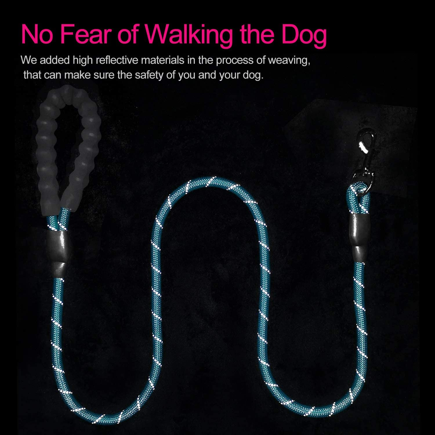 VLDCO 10 FT Strong Dog Leash Extra Heavy Duty Rock Climbing Rope Comfortable Padded Handle Highly Reflective Threads for Small Medium Large Dogs 1//2 inch Diameter