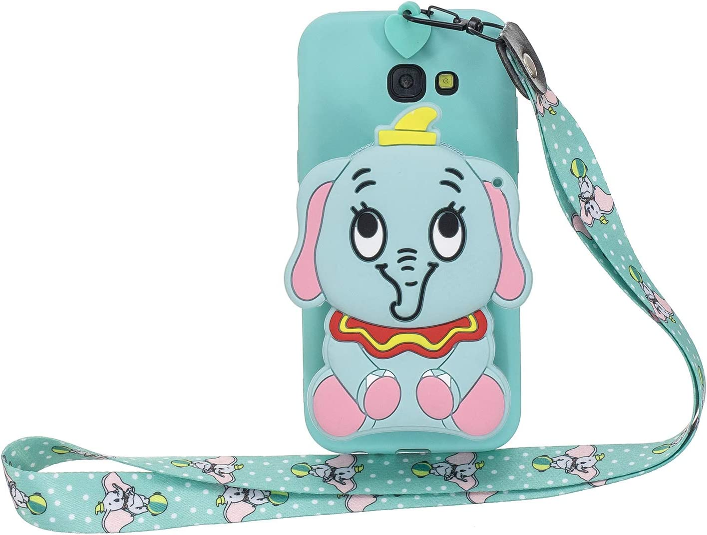 Gostyle Wallet Case Compatible with Samsung Galaxy A5 2017//A520,Cute 3D Cartoon Animal Soft Silicone TPU Back Cover with Zipper Pocket and Neck Lanyard Strap Protective Cover,Black Bear