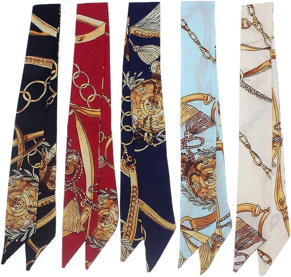 Uainhrt 5pcs Tassels and Chains Design Bag Handbag Handle Ribbon Scarf Hair Head Band Neck Scarf Neckerchief Scarf Head Wrap Fashion Gifts