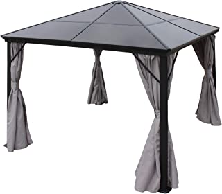 Christopher Knight Home Bali Outdoor 10 x 10 Foot Black Rust Proof Aluminum Framed Hardtop Gazebo with Grey Curtains