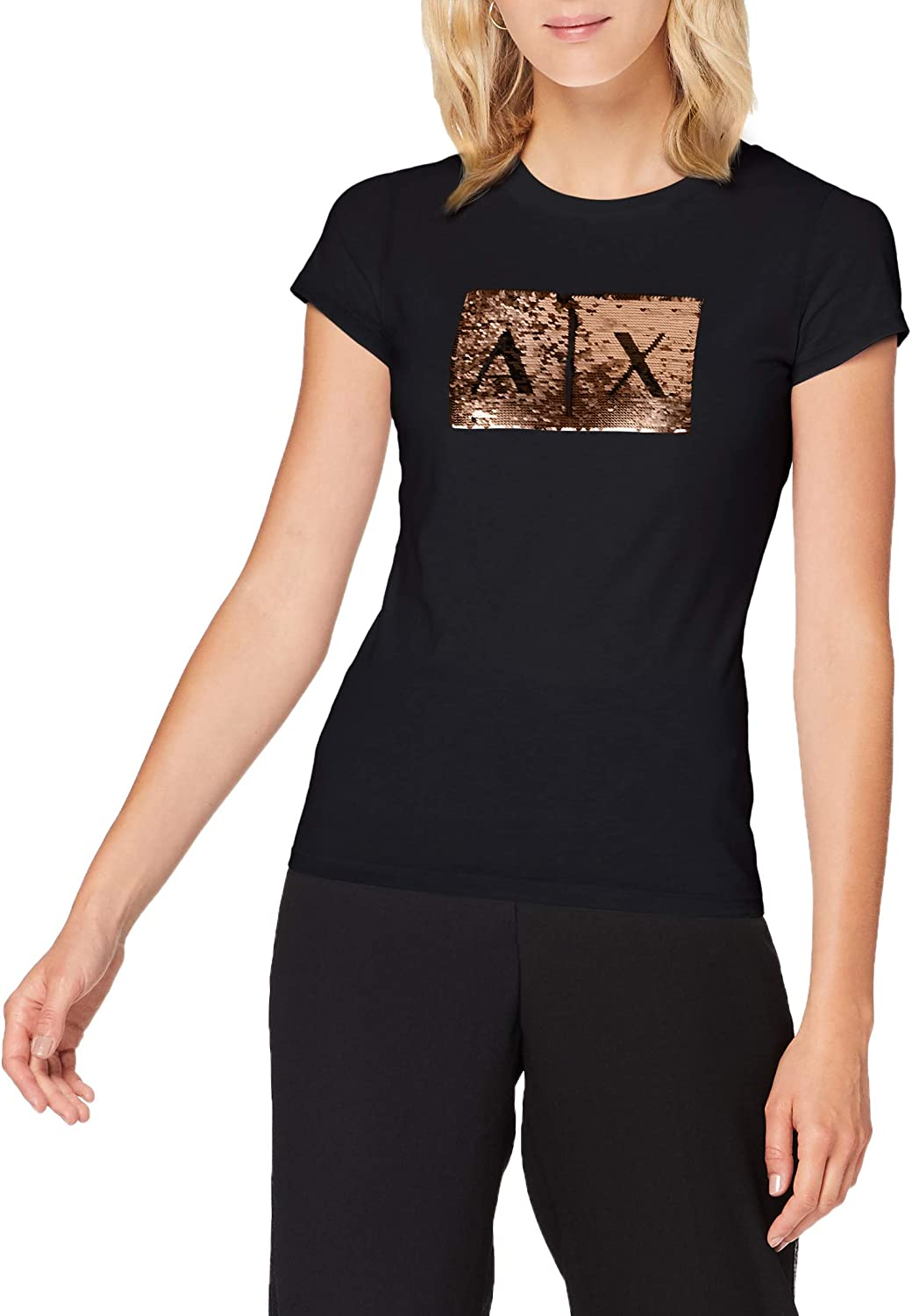 AX Armani Exchange Women's Basic T-Shirt 4 years warranty Logo with Bust on Outstanding