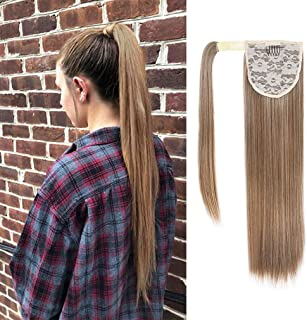 SEIKEA Wrap Around Long Ponytail Straight Hair Extension Clip in 28 Inch Synthetic Hairpiece -Light Brown/Ash Blonde and Pale Natural Gold-Blonde Blend