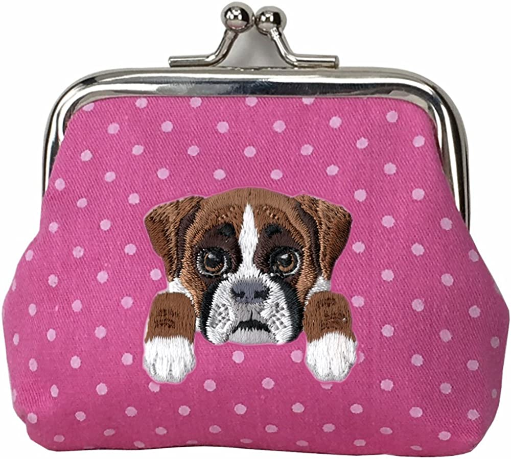 BOXER DOG Cute trend rank Embroidered Puppy Buckle Walle Boston Mall Dog Coin Purse