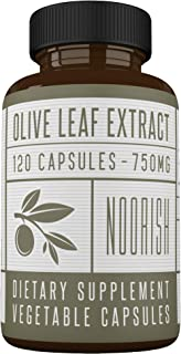 Olive Leaf Extract Capsules (Non-GMO) Super Strength: 20% Oleuropein - 750mg - Immune Support and Antioxidant Supplement (...