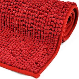 WohnDirect Alfombrilla de baño Rojo • Puede combinarse en un Conjunto • Antideslizante y Lavable – 45x45cm