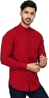 U-TURN Men's Cotton Solid Chinese Collar Shirt