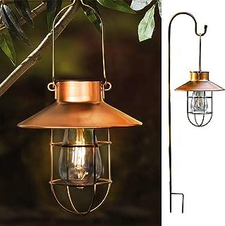 ROJOY Hanging Solar Lights Lantern Lamp With Shepherd Hook, Metal Waterproof Edison Bulb Lights for Garden Outdoor Pathway