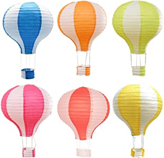 INTVN 6 Pieces Hanging Hot Air Balloon Paper Lanterns Set Party Decoration Birthday Wedding Christmas Party Decor Gift Set, Pack of Stripe Style 30 cm (12