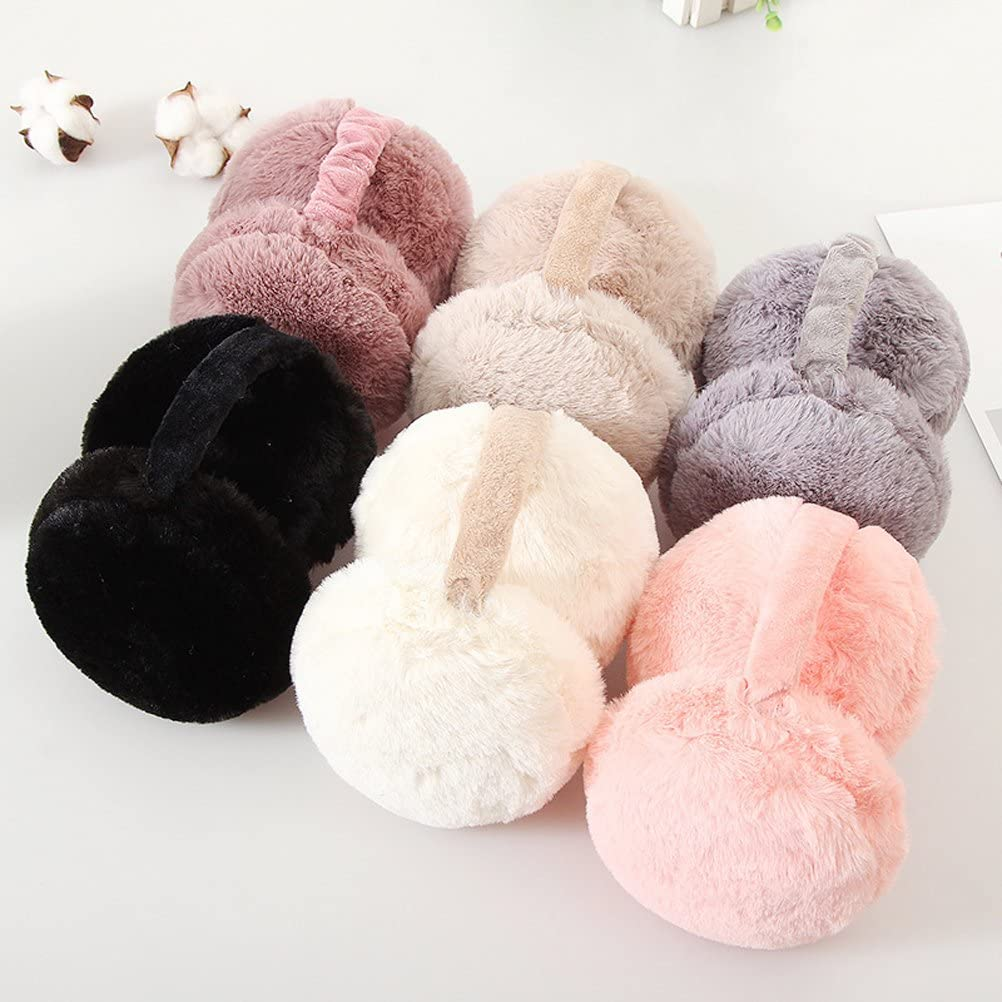 KESYOO Furry Foldable Earmuffs Cute Hamburger Ear Warmers Unisex Winter Warm Ear Covers (Pink)