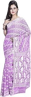 SareesofBengal Women's Cotton Silk Handloom Jamdani Dhakai Saree