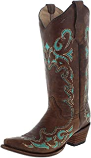 Womens Brown/Turquoise Side Embroidery, Size: 7, Width: M (L5193-LD-M-7)