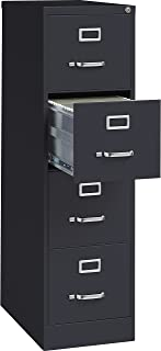 Lorell 4-Drawer Vertical File with Lock, 15 by 25 by 52-Inch, Black