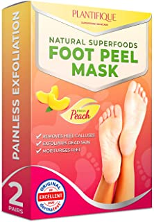 Foot Peel Mask to Exfoliate Dead Skin - Dermatologist Tested Baby Foot Peeling Mask for Callus Removal, Dead Skin and Cracked Heel Treatment - 2 Pairs Foot Scrub Booties | Peach Foot Mask