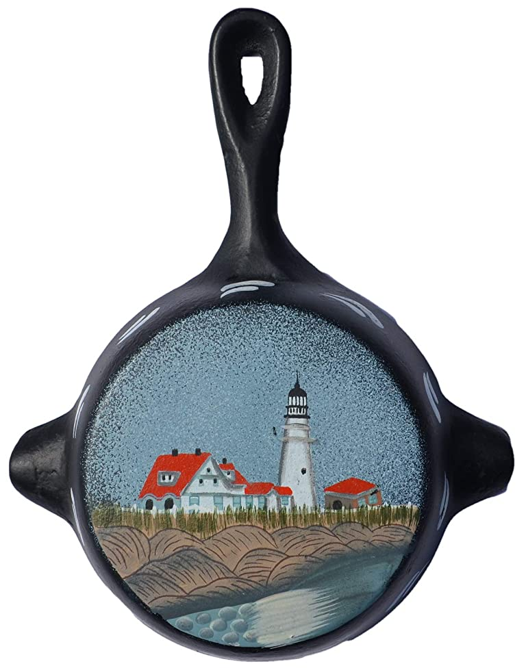 AMISH WARES Black Iron Metal Skillet Wall Hanger Ashtray Miniture Decoration 4 7/8 X 6 1/4 X 7/8 Inch Bottom Painted with a Lighthouse and Buildings