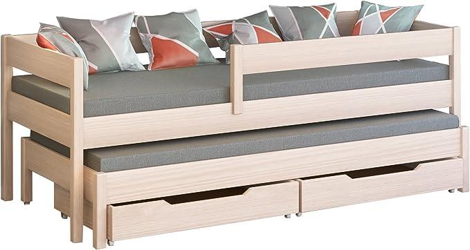 Cama individual Jula para niños, con nido Cajones incluidos. -, madera, Blanco, 180x80/170x80