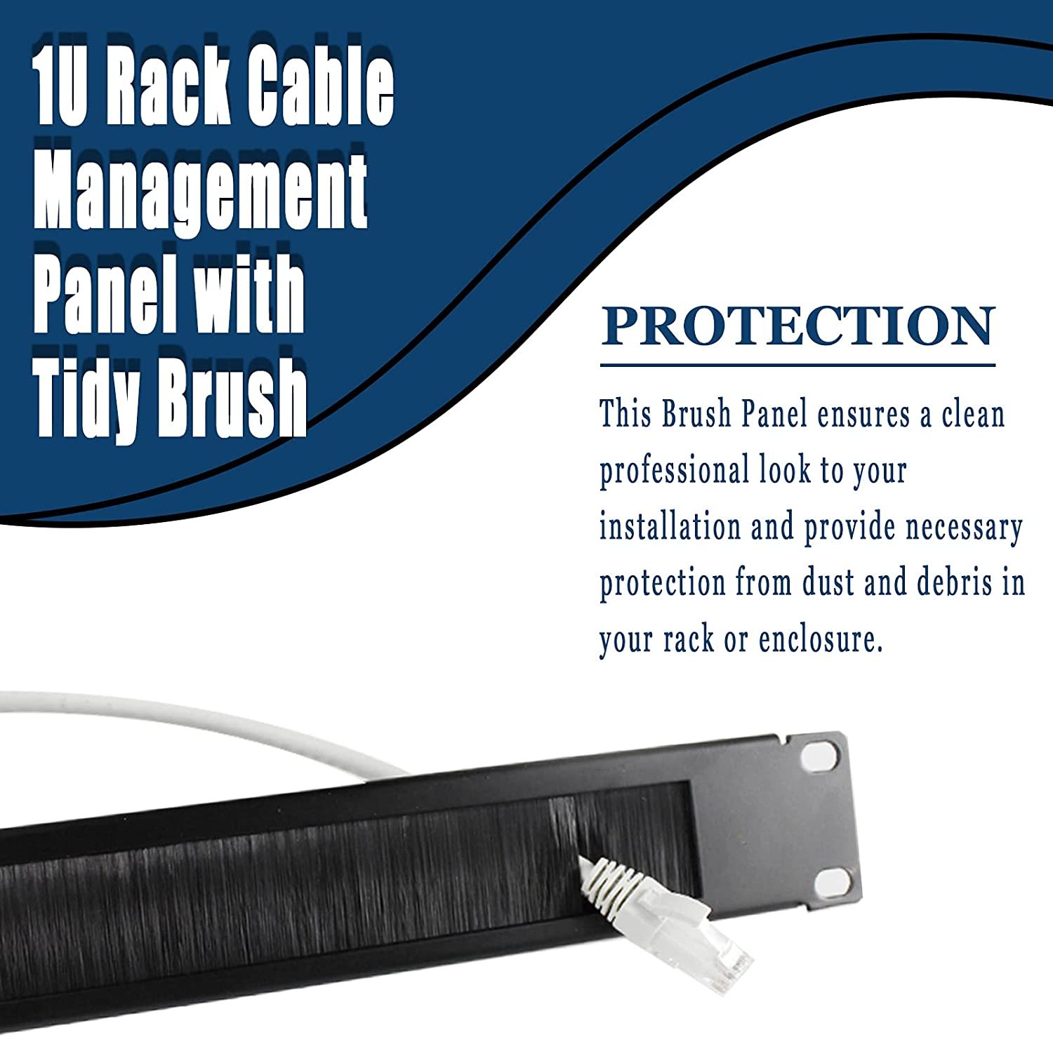 1U Rack-Mounted Cable Management Panel with a Neat Brush Slot for Arranging The Black Cable Entry of a 19-inch Rack or Cabinet, with Necessary mounting Hardware